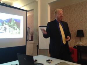 Tony Inman presents to a networking group