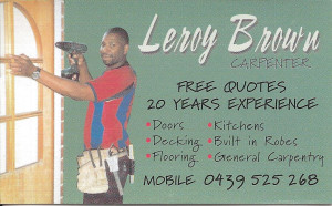 Leroy Brown's old business card 2012
