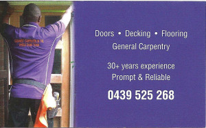 Leroy Brown Carpentry Business Cards Rear