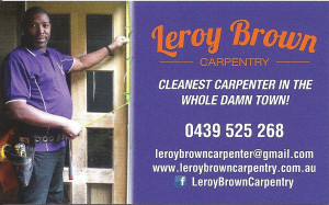 Leroy Brown Carpentry Business Cards Front