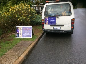 Leroy Brown's van and street sign bring in work for him