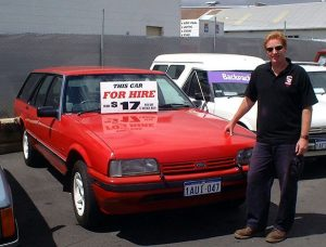 Tony Inman with the first Club Red Hire Car c.2001